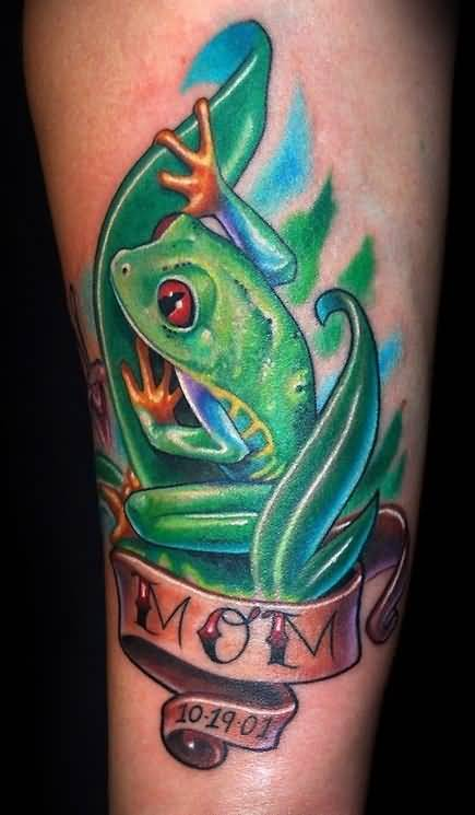 Memorable Mom Banner Great 3D Frog Tattoo