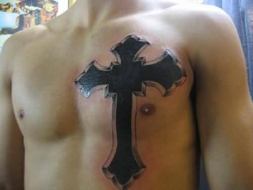 Men Chest Black Ink Coolest Gothic Cross Tattoo