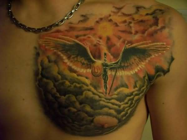 Men Chest Decorated With Outstanding Classy Greek Tattoo