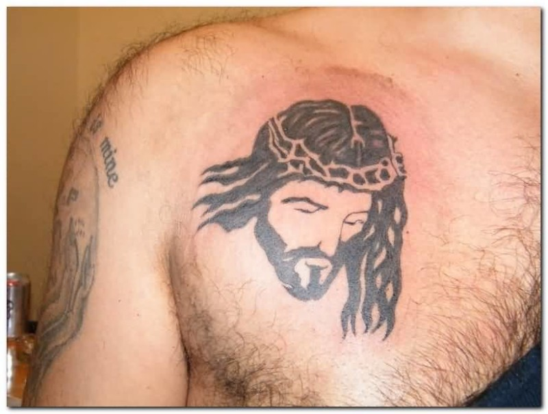 Men Chest Decorated With Outstanding Classy Relious Jesus Gothic Tattoo
