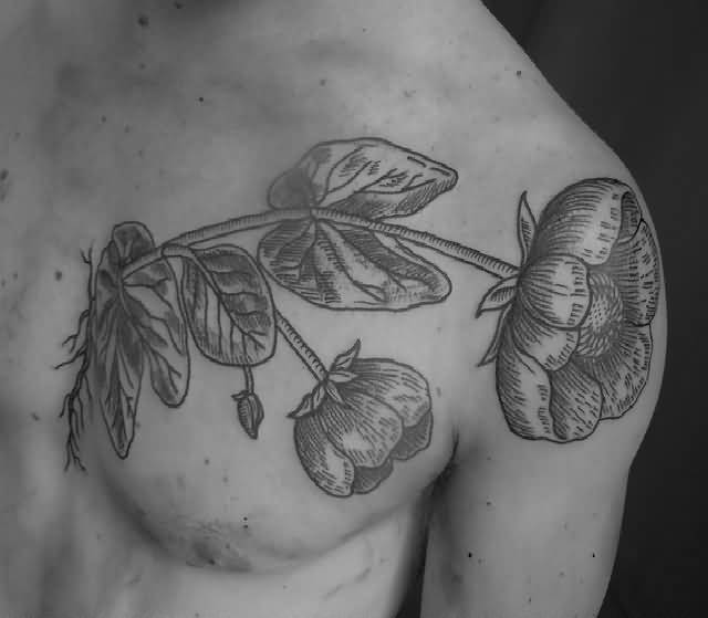 Men Chest Decorated With Outstanding Simple Flower Tattoo