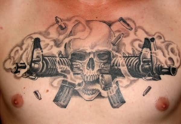 Skulls And Guns Tattoos: Men Gun Tattoo Ideas And Men Gun Tattoo Designs