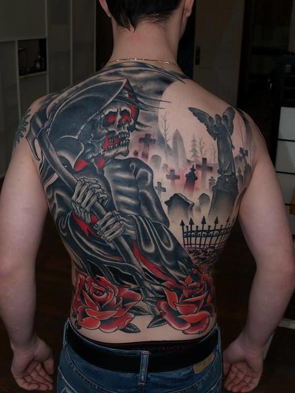 Men Full Back Decorated With Outstanding Classy Graveyard Grim Tattoo
