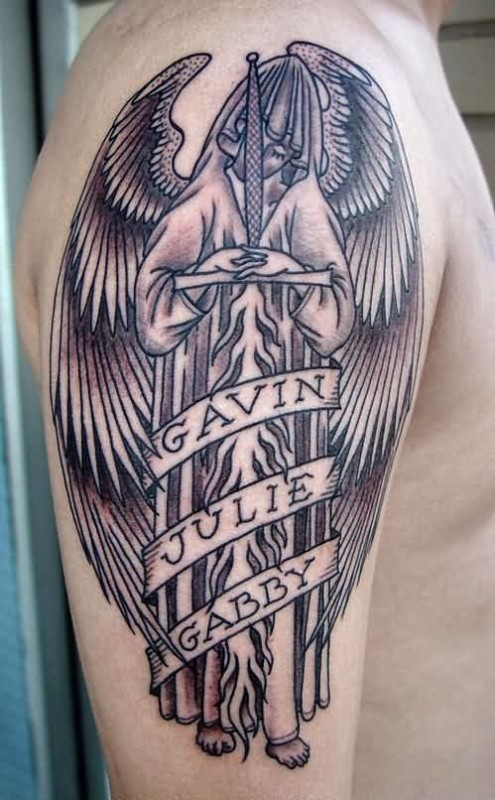 Men Show Simple Banner Gothic Angel Warrior With Coolest Banner  Tattoo