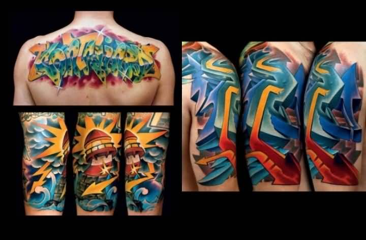 Men Upper Back  And Sleeve Decorated With Outstanding Graffiti Tattoo