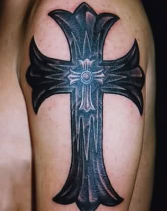 Men Upper Sleeve Outstanding Gothic Cross Tattoo