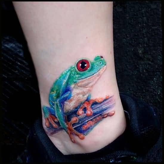 Mind Blowing 3D Frog Tattoo Design Image