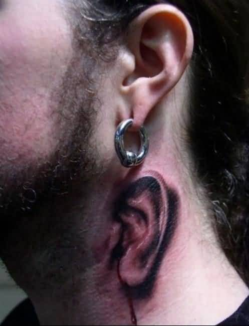 Mind Blowing 3D Funny Ear Tattoo Design For Handsome Men