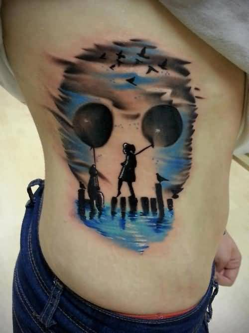 Mind Blowing 3D Funny skull Tattoo Design Image Make On Rib Side