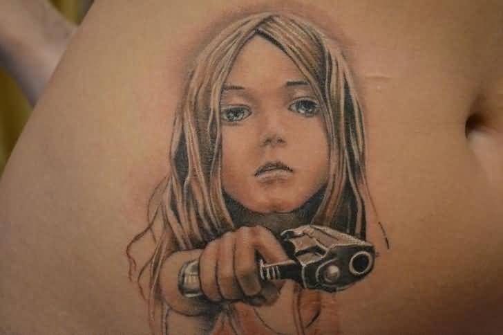 Mind Blowing Hot Gangesta Hold 3D Gun Tattoo Design Image Make On Rib Side