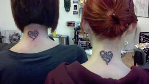 Neck Back Cover Up With Incredible Friendship Heart Tattoo