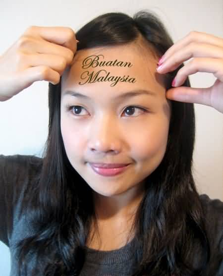 Nice Cool Wording Forehead Tattoo For Pretty Hot Women