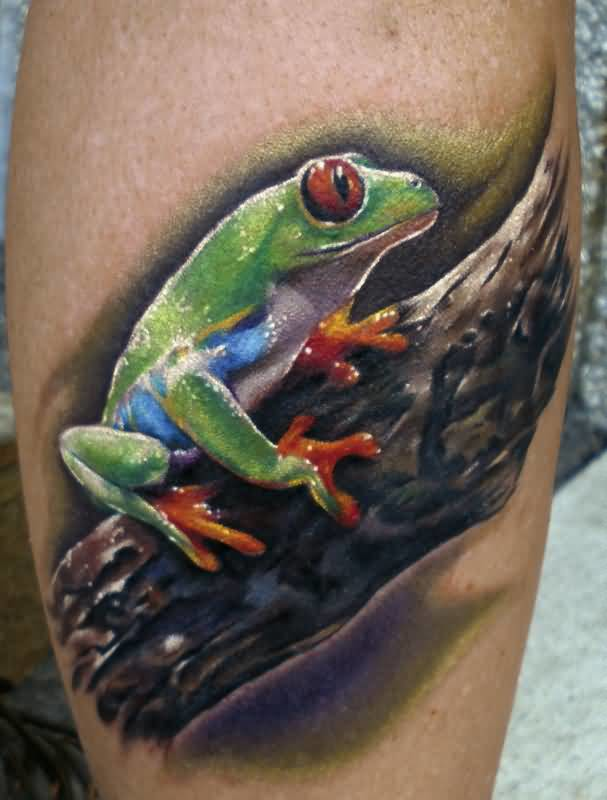 Nice Looking 3D Frog Tattoo Image With Tree