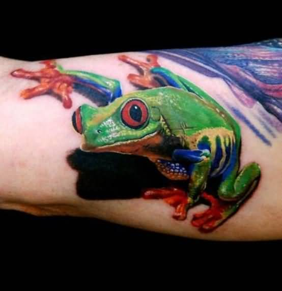 Nice Looking Crazy 3D Frog Tattoo