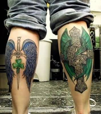 Nice Looking Sword With Wings And Gothic Cross Tattoo Design Image Make On Leg Back