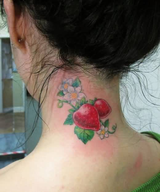 Nice Lovely Flowers And Cool Strawberry Fruit Tattoo Make On Women's Neck Side