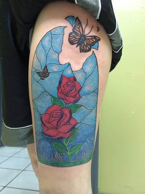 Nice One Flying Butterfly With Lovely Old Broken Flower With Nice Red Flower Tattoo Image