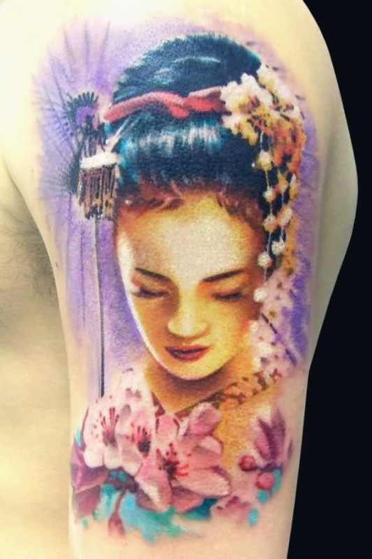 Nice One Upper Sleeve Ultimate Geisha With Beautiful Flowers Tattoo For Handsome Cool Men
