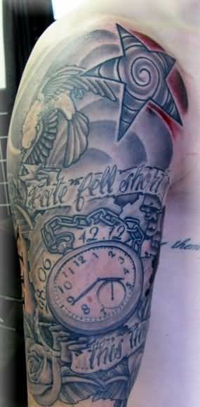f8af1fe63 Outstanding Classy Clock Half Sleeve Star Tattoo Design For Cool Men