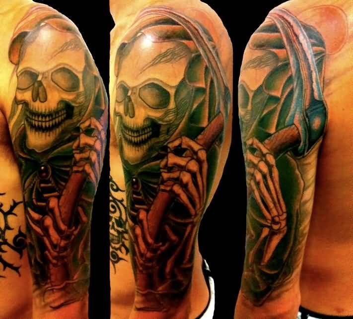Outstanding Upper Sleeve Brilliant Grim Reaper Tattoo
