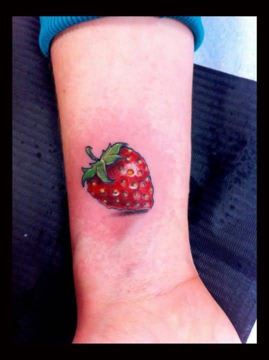 Perfect 3D Lower Sleeve Nice One Strawberry Fruit Tattoo