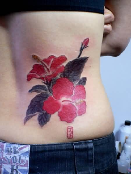 Perfect Awesome Hawaiian Flower Tattoo Design Image Make On Lower Back For Cool Women