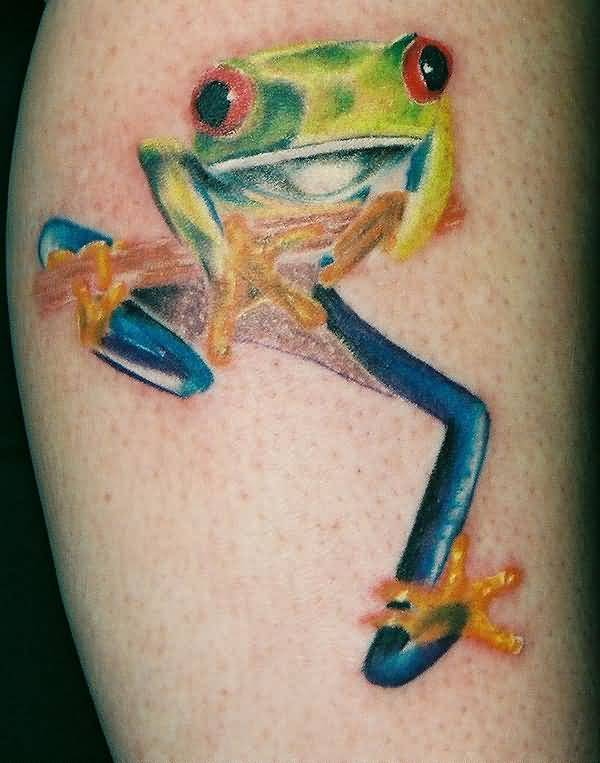 Perfect Colorful Frog Tattoo Made By Expert
