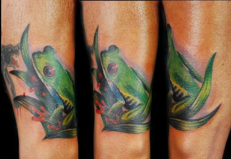 Perfect Scary Red Eye Frog Tattoo