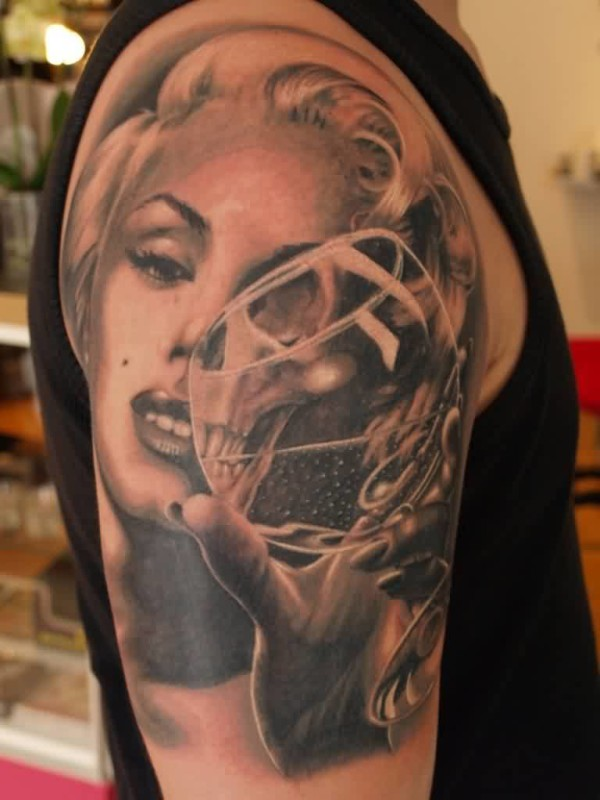 Perfect Ultimate Girl Face With Glass Tattoo Design Image Make On Upper Sleeve For Cool Men