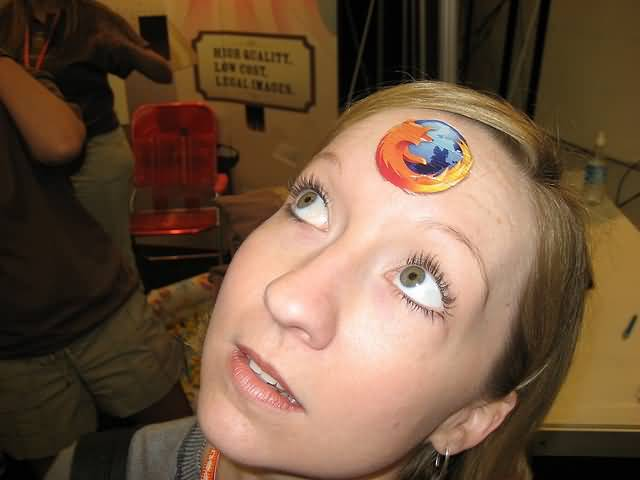 Popular Mozilla Firefox Forehead Tattoo Image Make On Forehead
