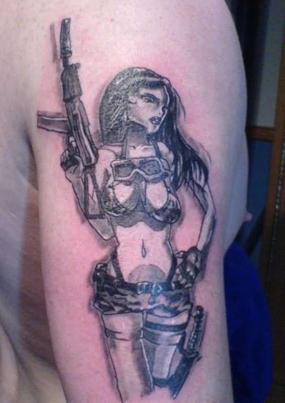 Pretty Hot Army Girl With Gun Tattoo Design Image Make On Upper Sleeve