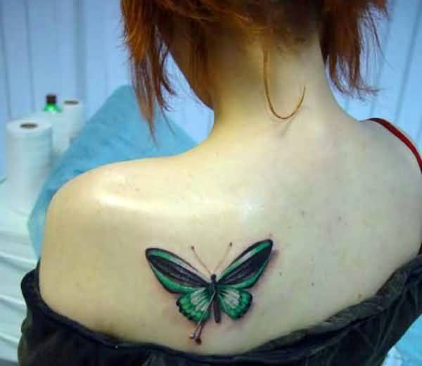 Realistic Green Butterfly Tattoo Design For Young Hot Girl Make On Upper Side Back