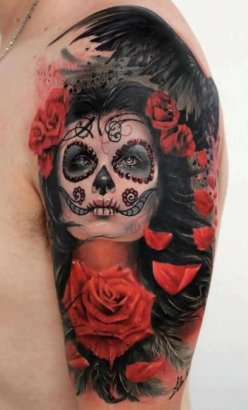 Realistic Red Rose And Coolest Latino Girl Tattoo Design Image Make On Upper Sleeve