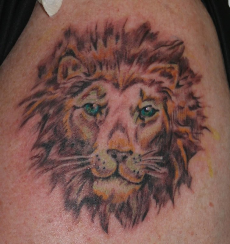 Scary Lion Head Tattoo Design Image Make On Men's Head