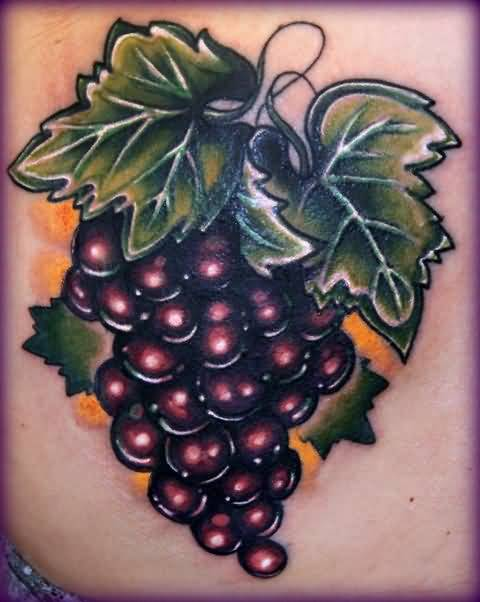 Simple Amazing Grapes Fruit Tattoo Design Image
