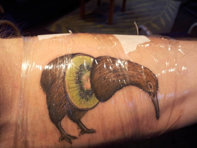 Simple Collaboration Of Kiwi Fruit And Bird Tattoo