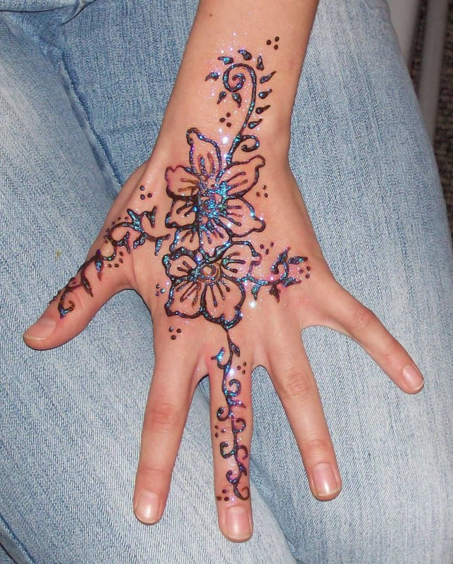 Simple Glitter Ink Flower Hand Tattoo Design For Perfect Cool Women