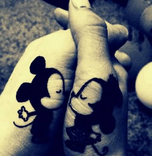 Sweet Romantic Couple Side Hand Mickey Tattoo