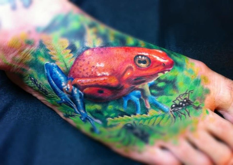 Terrific Angry 3D Frog Tattoo Make On Foot
