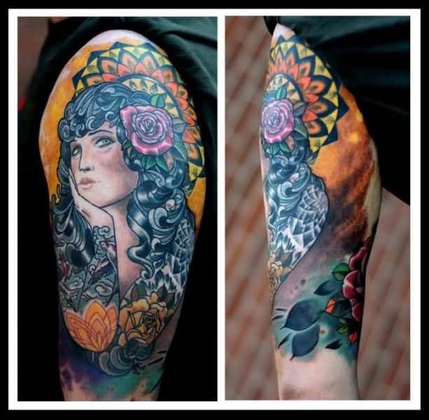 Terrific Upper Sleeve Ultimate Gypsy With Orange Flower Tattoo