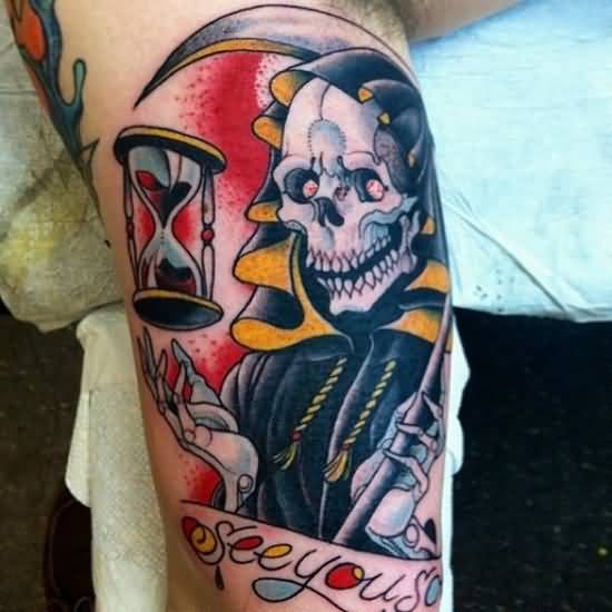 Traditional Old Sand Clock With Angry Grim Reaper Tattoo Design Image Make On Leg