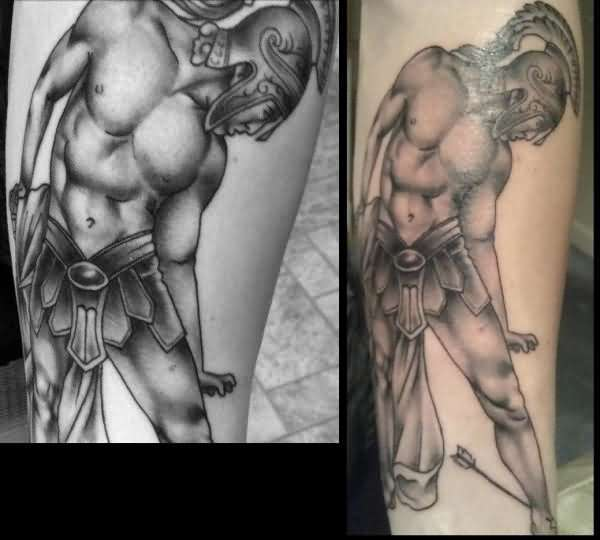 Ultimate And Simple Greek Warrior Tattoo