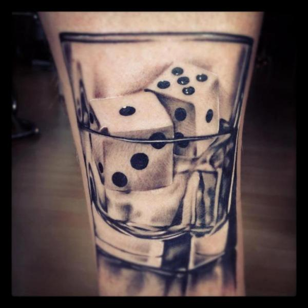 Ultimate Dice In  Glass Tattoo Made By Perfect Artist