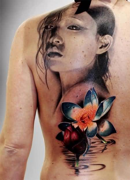 Ultimate Flowers With Innocent Girl Face Tattoo Design Image Make On Upper Side Back