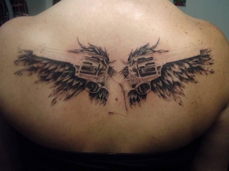 Unique Another Best Wings Guns Tattoo Design Image Make On Upper Back For Women
