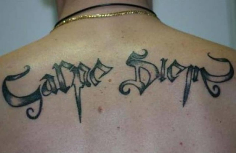 Upper Back Carpe Diem Greek Words Tattoo Design
