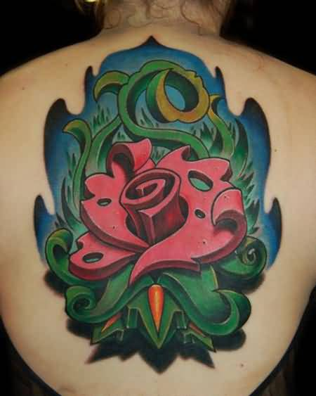 Upper Back Cover Up With Simple Classy Funky Rose Tattoo