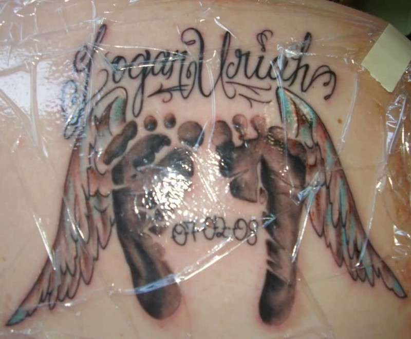Upper Side  Back Cover Up Nice Footprints With Text Tattoo Design Image