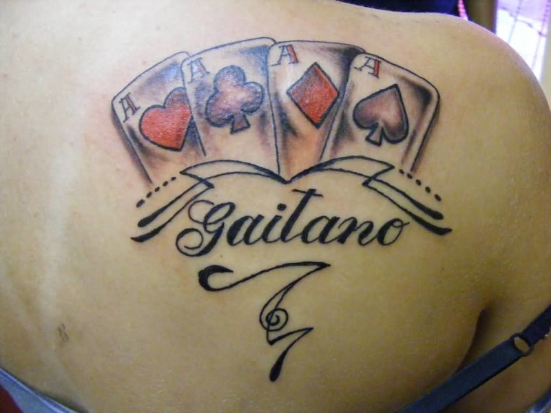 Upper Side Back Cover Up With Classy Nice Gambling Tattoo For Women