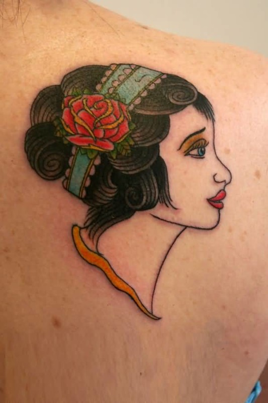 Upper Side Back Decorated With Outstanding Classy Gypsy Face Tattoo